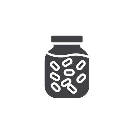 Pickled food jar vector icon. filled flat sign for mobile concept and web design. marinated food jar glyph icon. Symbol, logo illustration. Pixel perfect vector graphics
