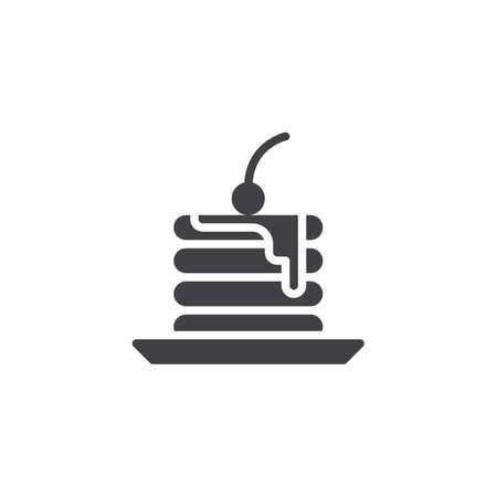 Piece of Cake vector icon. filled flat sign for mobile concept and web design. Cake with cherry glyph icon. Dessert food symbol, logo illustration. Pixel perfect vector graphics