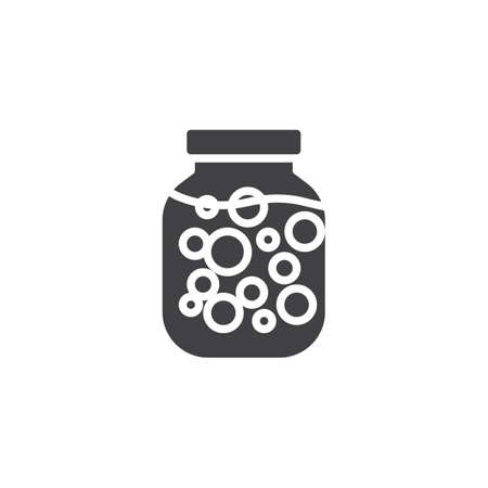 Pickled vegetables jar vector icon. filled flat sign for mobile concept and web design. Canned vegetables glyph icon. Symbol, logo illustration. Pixel perfect vector graphics