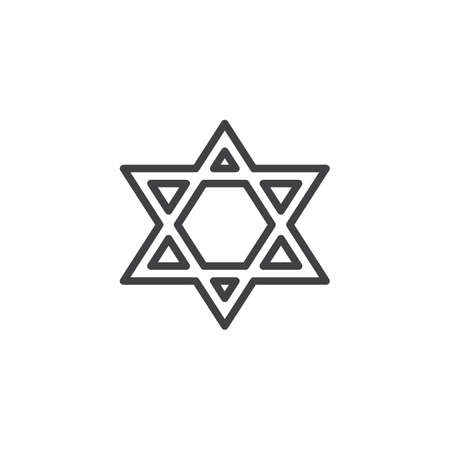 Star of David line icon. linear style sign for mobile concept and web design. Magen David star outline vector icon. Judaism religion symbol, logo illustration. Vector graphics