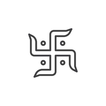 Hindu swastika line icon. linear style sign for mobile concept and web design. Diwali Laxmi Sarasvati swastika outline vector icon. Symbol, logo illustration. Vector graphics