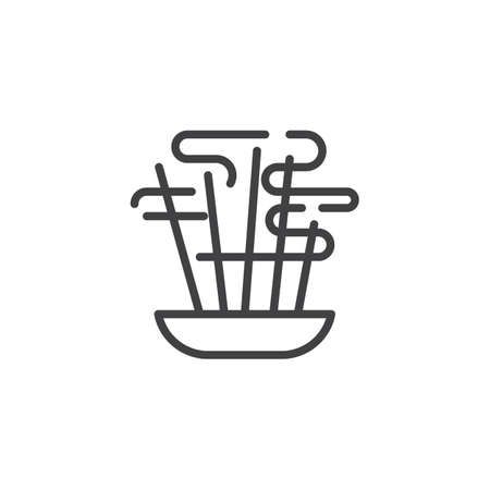 Aromatic sticks line icon. linear style sign for mobile concept and web design. Burning aromatic incense sticks outline vector icon. Symbol, logo illustration. Vector graphics Stock Vector - 122993690