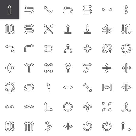 Abstract arrows line icons set. linear style symbols collection, outline signs pack. vector graphics. Set includes icons as Left, Right, Down, Straight, Transfer , Directional, Curved arrow, Crossroad