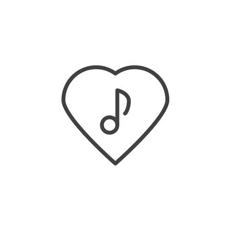 Love music line icon. linear style sign for mobile concept and web design. Musical note in heart outline vector icon. Romantic music symbol, logo illustration. Vector graphics Stock Illustratie