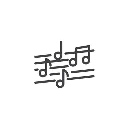 Musical note line icon. Music stave linear style sign for mobile concept and web design. music staff with notes outline vector icon. Symbol, logo illustration. Vector graphics Logo