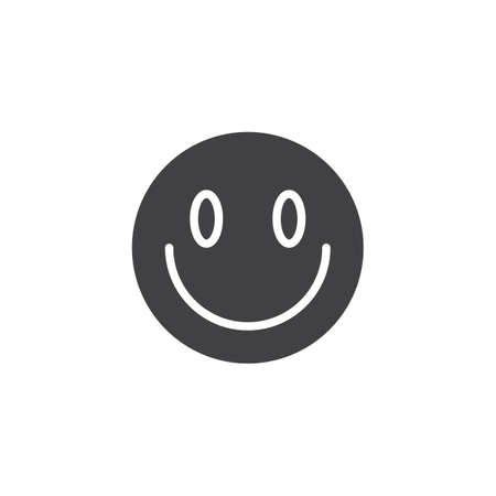 Slightly Smiling Face emoji vector icon. filled flat sign for mobile concept and web design. Happy face emoticon glyph icon. Symbol, logo illustration. Vector graphics 向量圖像