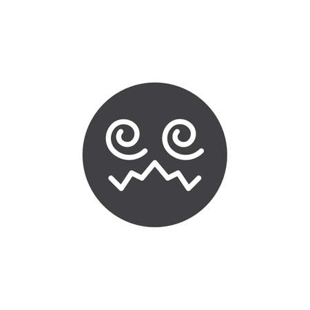Hypnotized emoji face vector icon. filled flat sign for mobile concept and web design. Confounded Face emoticon glyph icon. Symbol, logo illustration. Vector graphics