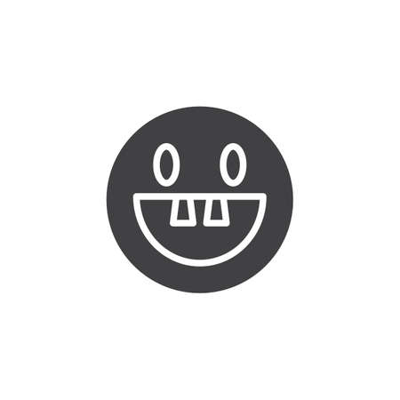 Toothless emoji face vector icon. filled flat sign for mobile concept and web design. Happy smiley emoticon glyph icon. Symbol, logo illustration. Vector graphics Ilustração