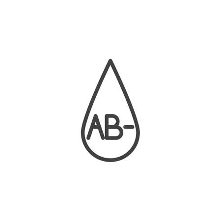 AB- blood type line icon. Blood drop linear style sign for mobile concept and web design. AB minus, negative blood group outline vector icon. Symbol, logo illustration. Vector graphics