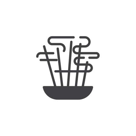 Aromatic sticks vector icon. filled flat sign for mobile concept and web design. Burning aromatic incense sticks glyph icon. Symbol, logo illustration. Vector graphics