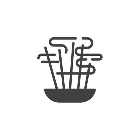 Icône de vecteur de bâtons aromatiques. signe plat rempli pour le concept mobile et la conception web. Icône de glyphe de bâtons d'encens aromatiques brûlants. Symbole, illustration du logo. Graphiques vectoriels