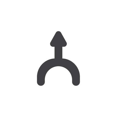 Up direction arrow vector icon. filled flat sign for mobile concept and web design. Curved arrow up glyph icon. Symbol, logo illustration. Vector graphics
