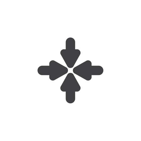 Resize, Minimize arrows vector icon. filled flat sign for mobile concept and web design. Four arrows pointing inside glyph icon. Symbol, logo illustration. Vector graphics