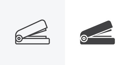 Office stapler icon. line and glyph version, Stapler outline and filled vector sign. linear and full pictogram. Symbol, logo illustration. Different style icons set Stock Vector - 123307989