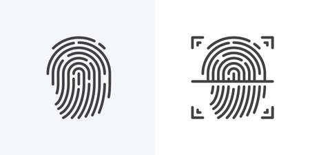 Fingerprint scan icon. biometric fingerprint identification vector sign. linear pictogram. Symbol, logo illustration