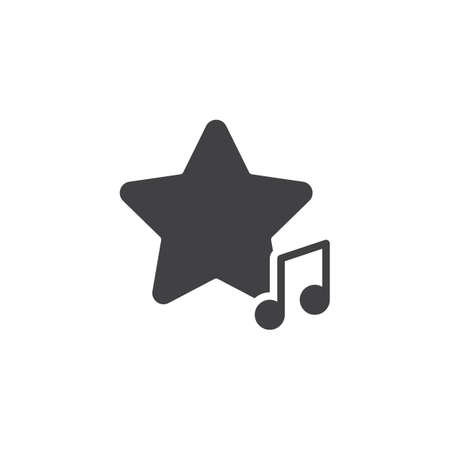 Favorite music rate vector icon. filled flat sign for mobile concept and web design. Musical note with rating star glyph icon. Symbol, logo illustration. Vector graphics Ilustração