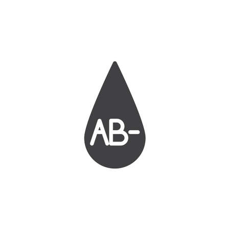 AB- blood type vector icon. Blood drop filled flat sign for mobile concept and web design. AB minus, negative blood group glyph icon. Symbol, logo illustration. Vector graphics