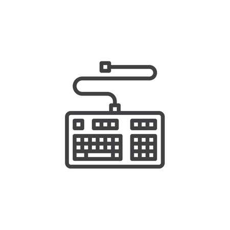 Icône de ligne de clavier d'ordinateur. signe de style linéaire pour le concept mobile et la conception Web. Clavier PC avec icône de vecteur de contour de connecteur. Symbole, illustration du logo. Graphiques vectoriels Logo