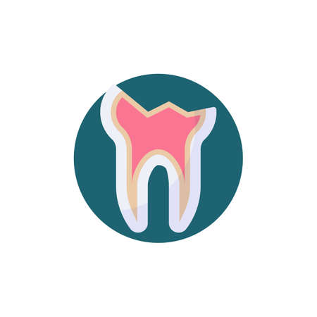 Cracked tooth flat icon. Round colorful button, Decayed teeth circular vector sign. Chipped tooth broke flat style design
