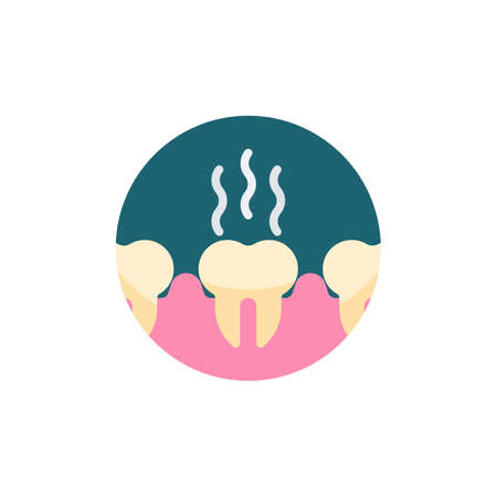 Unhealthy teeth flat icon. Round colorful button, Bad teeth circular vector sign. Stinky tooth flat style design