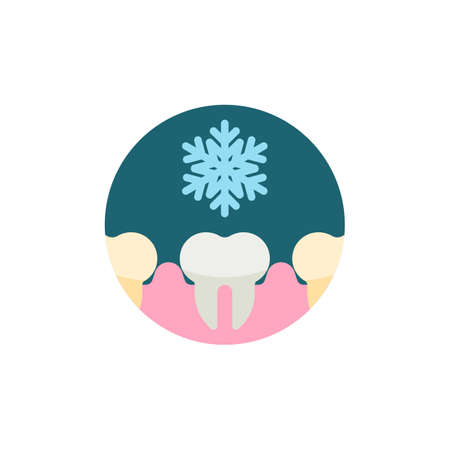 Tooth sensitive to coldness flat icon. Round colorful button, Cold sensitive teeth circular vector sign. Flat style design