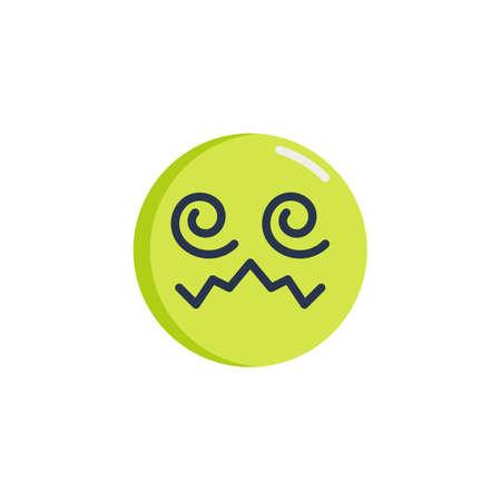 Confounded Face emoticon flat icon, Hypnotized emoji face vector sign, colorful pictogram isolated on white. Symbol, logo illustration. Flat style design Illustration