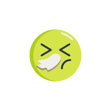 Sneezing face emoji flat icon, vector sign, Illness emoticon colorful pictogram isolated on white. Symbol, logo illustration. Flat style design