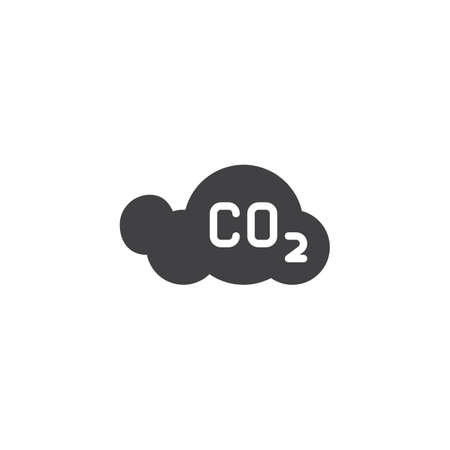 CO2 cloud vector icon. filled flat sign for mobile concept and web design. Carbon dioxide cloud glyph icon. Global warming  symbol, logo illustration. Vector graphics Illustration