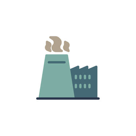Manufacturing industry pollution smoke flat icon, Factory chimney with smoke vector sign, colorful pictogram isolated on white. Symbol, logo illustration. Flat style design