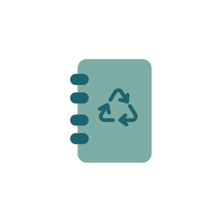 Notebook with recycling arrows flat icon, vector sign, Eco book colorful pictogram isolated on white. Ecology symbol, logo illustration. Flat style design