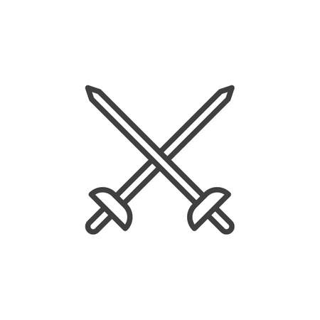 Fencing Swords line icon. linear style sign for mobile concept and web design. Crossed swords outline vector icon. fencing sport symbol illustration. Vector graphics