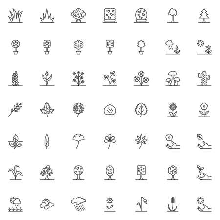 Nature plants line icons set. Gardening linear style symbols collection, outline signs pack. vector graphics. Set includes icons as potted flowers, exotic tropical tree leaves, grass, bush, shrub Ilustrace