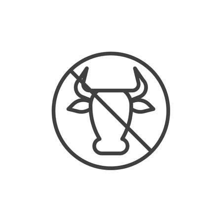 No milk and lactose sign line icon. linear style sign for mobile concept and web design. Cow Meat forbidden sign outline vector icon. Diet food symbol, logo illustration. Vector graphics Illustration