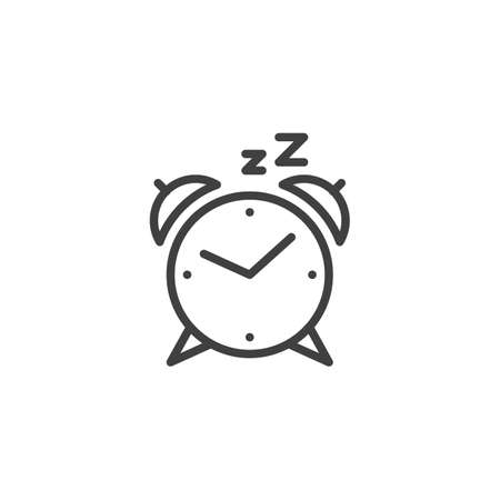 Alarm clock line icon. linear style sign for mobile concept and web design. Clock Sleep outline vector icon. Symbol illustration. Vector graphics Vector Illustration