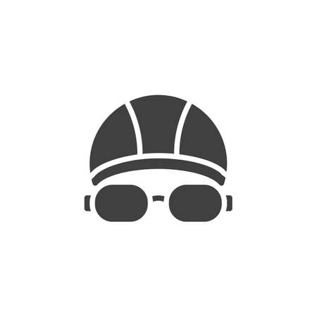 Swimming hat and glasses vector icon. filled flat sign for mobile concept and web design. Goggles and swimming cap glyph icon. Symbol illustration. Vector graphics
