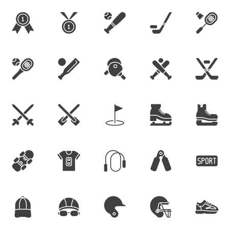 Set di icone vettoriali per attrezzature sportive, raccolta di simboli solidi moderni, pacchetto di pittogrammi in stile pieno. Illustrazione dei segni. Il set include icone come medaglia del primo posto, palla mazza da baseball, bastone da hockey Ho