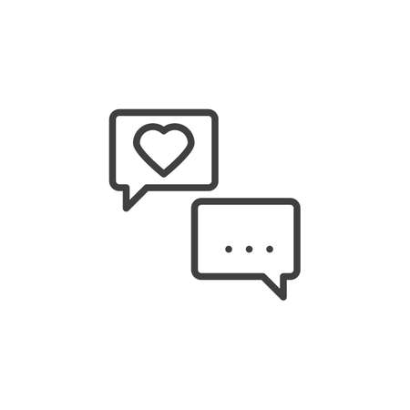 Heart speech bubble line icon. linear style sign for mobile concept and web design. Love forum chat outline vector icon. Romantic conversation symbol illustration. Vector graphics