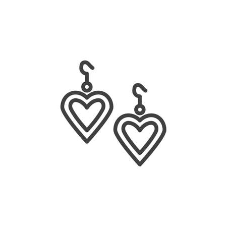Heart Shaped Earring line icon. linear style sign for mobile concept and web design. hearts earrings outline vector icon. Symbol illustration. Vector graphics Ilustração