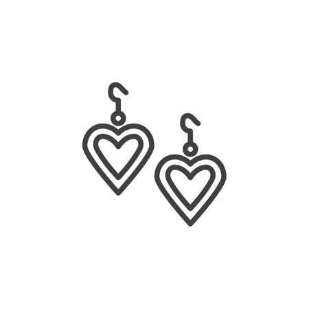 Orecchino a forma di cuore icona linea. segno di stile lineare per il concetto mobile e il web design. cuori orecchini contorno icona vettore. Illustrazione del simbolo. Grafica vettoriale