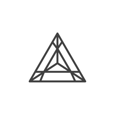 Triangular Precious stone, gem line icon. Gemstone linear style sign for mobile concept and web design. Triangle diamond outline vector icon. Symbol illustration. Vector graphics