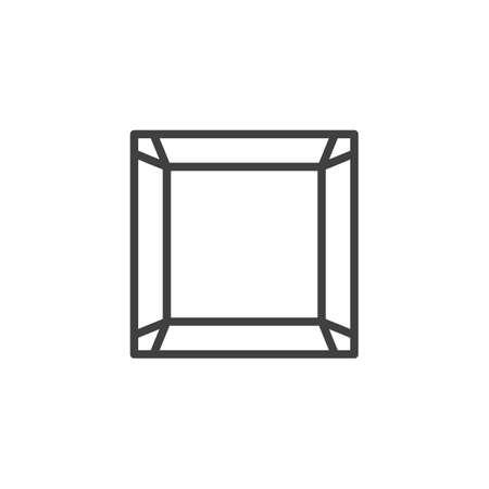 Square gemstone line icon. Precious stone, gem linear style sign for mobile concept and web design. Diamond, brilliant outline vector icon. Symbol illustration. Vector graphics