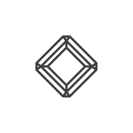 Ikona linii promienisty diament. Kwadratowy znak w stylu liniowym dla mobilnej koncepcji i projektowania stron internetowych. Kamień szlachetny, klejnot wektor zarys ikony. Ilustracja symbolu. Grafika wektorowa