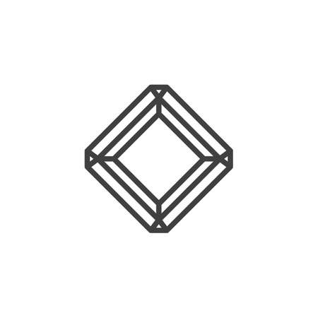 Radiant diamond line icon. Square gemstone linear style sign for mobile concept and web design. Precious stone, gem outline vector icon. Symbol illustration. Vector graphics