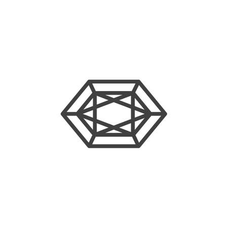Gem, diamond line icon. Brilliant linear style sign for mobile concept and web design. Crystal stone outline vector icon. Symbol illustration. Vector graphics