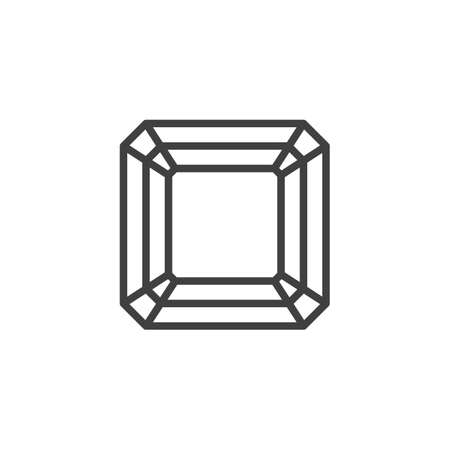 Asscher Diamond line icon. Brilliant stone linear style sign for mobile concept and web design. Gemstone diamond outline vector icon. Symbol illustration. Vector graphics
