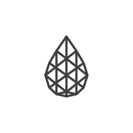 Icône de ligne de losange en forme de larme. Pierre précieuse, signe de style linéaire de gemme pour le concept mobile et la conception Web. Icône de vecteur de contour de pierres précieuses poire. Illustration de symbole. Graphiques vectoriels