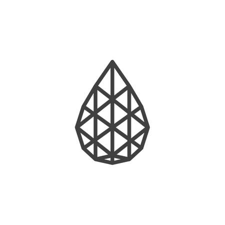 Tear drop shaped diamond line icon. Precious stone, gem linear style sign for mobile concept and web design. Pear gemstone outline vector icon. Symbol illustration. Vector graphics