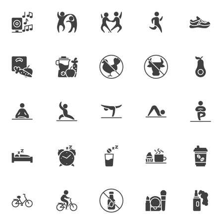 Set di icone vettoriali stile di vita sano, raccolta di simboli solidi moderni, pacchetto di pittogrammi in stile pieno. Illustrazione dei segni. Il set include icone come coppia di ballerini, uomo che corre, scarpa sportiva, perdita di peso