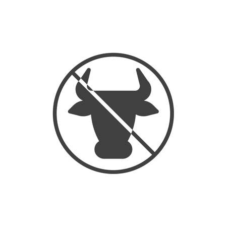 No milk and lactose sign vector icon. filled flat sign for mobile concept and web design. Cow Meat forbidden sign glyph icon. Diet food symbol, logo illustration. Vector graphics