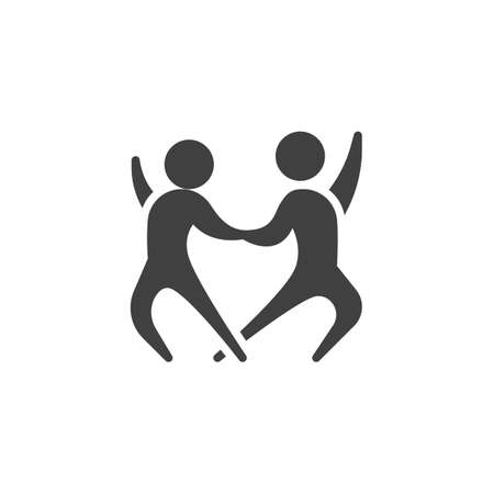 Dancers couple vector icon. filled flat sign for mobile concept and web design. Dancing couple glyph icon. Dance party symbol illustration. Vector graphics